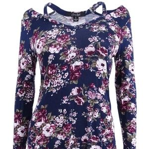 Ultra Flirt Juniors Printed Floral Cutout-Neck Top